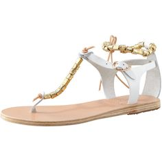 Ancient Greek Sandals Chrysso Beaded Vachetta Thong Sandal, White ($121) ❤ liked on Polyvore