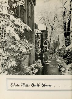 Athena yearbook, 1937. Chubb Hall on College Green during winter. :: Ohio University Archives
