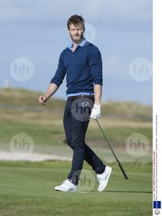Outfit is on point!!  'Blue is the warmest colour.'  Jamie on the golf court at Alfred Dunhill Cup.