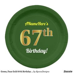 Green, Faux Gold Birthday + Custom Name Paper Plate Paper Plate Design, 85th Birthday, Party Tableware, Birthday Greeting Cards, Paper Plates, Biodegradable Products, Wrapping, Green, Gold