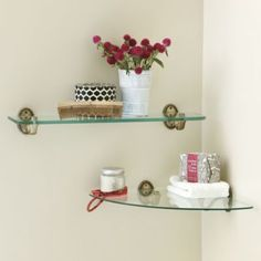 Beaded Bath Glass Shelf