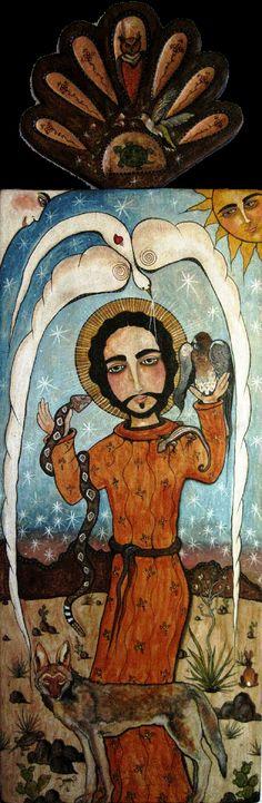 Saint Francis and His Wild Desert Friends Retablo by             Virginia Maria Romero