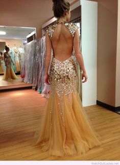 Long nude dress with colorful glitter accents