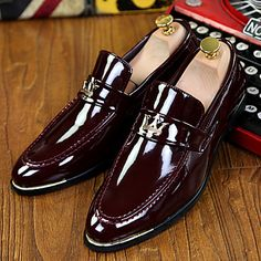 Men's+Shoes+Office+&+Career+/+Party+&+Evening+/+Casual+Patent+Leather+Loafers+Black+/+Blue+/+Burgundy+–+USD+$+29.69