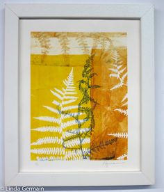 Original Gelatin Monotype Print, Yellow and gold tones, natural ferns, home decor,  8 x10, office wall art, hand printed, gift, abstract art