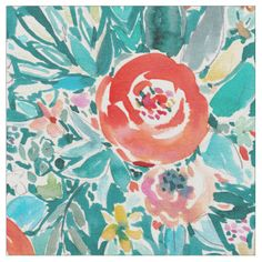 IN FLOW Floral Colorful Boho Whimsical Watercolor Fabric