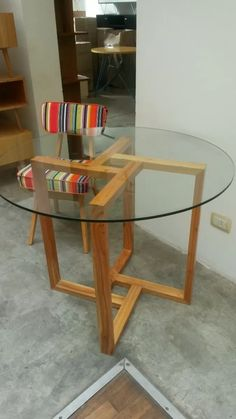 Unique Ash and Glass Coffee Table for His Apartment, Wood Furniture Legs, Small Furniture, Table Furniture, Home Furniture, Furniture Design, Table Cafe, Dining Room Table, Home Room Design, Coffee Table Design