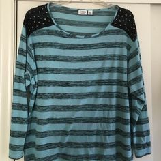 Turquoise & black striped shirt Turquoise & black striped shirt with shoulder embellishments Cato Tops Blouses