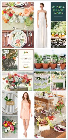 """REVEL: Summer Garden Wedding Inspiration I like the idea of potted plants, fireplace """"mantel"""" & the flowers are gorgeous"""