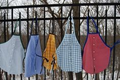Repurpose an old shirt into an apron -  ФАРТУКИ ИЗ МУЖСКИХ РУБАШЕК.