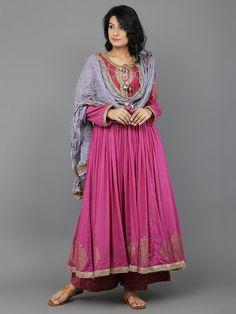 Magenta - Move Block Printed Mulmul Anarkali Suit  - Set of 3