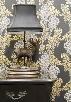wall covering: leaf vine white and yellow on grey background : farrow & ball #wallpaper