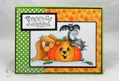 This image is Pumpkin Buddies and the sentiment is Frightfully Delightful.  I colored the image with Copic Markers:  (YR21 YR23 YR24  E71 YR68 YR38 YR35 YG00 YG01 YG03 W00 W1 W3 W5 C1 C3 C5)  The Paper is from Doodlebug.