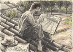 """""""Van Gogh sketching on a Roof in Arles"""" 4,25 x 6,89 inches, lead  and colored pencil, 12,5 cm x 17,5 cm, Bleistift/Farbstift (© Andreas Noßmann)"""
