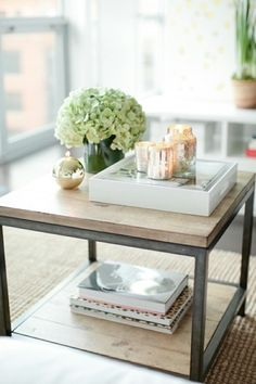 side table with candles and flowers