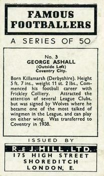 1939 R & J Hill Famous Footballers Series 1 #3 George Ashall Back