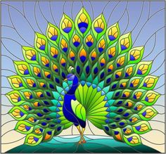 Illustration of Illustration in stained glass style with colorful peacock on blue sky , background vector art, clipart and stock vectors. Peacock Wall Art, Peacock Painting, Fabric Painting, Faux Stained Glass, Stained Glass Designs, Glass Painting Designs, Paint Designs, Butterfly Tattoos Images, Arte Linear