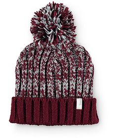 d6f5b609c0793 This cuffed style beanie is made with a grey and burgundy mixed marled knit  construction and