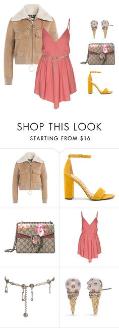 """Untitled #254"" by aleayahhughes ❤ liked on Polyvore featuring Off-White, Sam Edelman, Gucci, Glamorous, Versace and Kate Spade"