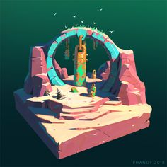 ArtStation - The Reach: Desert Dioramas, Andrew Porter Environment Concept Art, Environment Design, Game Environment, Bg Design, Game Design, Game Art, Desert Diorama, Isometric Art, Zbrush