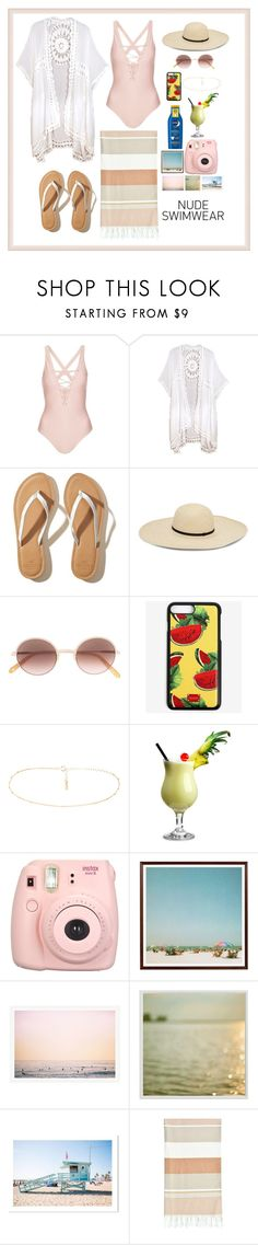 """Nude Swimwear Style 👙"" by valenlss ❤ liked on Polyvore featuring Topshop, Hollister Co., Garrett Leight, Dolce&Gabbana, Nivea, Fujifilm, Pottery Barn and Linum Home Textiles"