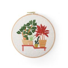 Hand embroidery kit beginner Modern DIY Embroidery Plant Handcraft Needlework Cross Stitch Kit Cotton Embroidery Painting Hoop Home Decor Embroidery Needles, Embroidery Patterns, Hand Embroidery, Embroidery Materials, Cross Stitch Fabric, Canvas Fabric, Diy Craft Projects, Printing On Fabric, Needlework