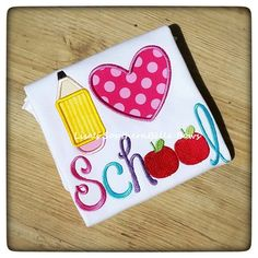 I love School, Back to School, Embroidered TShirt. Can be personalized with a name  Monag Brand Clothing- Lettuce Edge, Frill shirt. Colors: Hot Pink, Purple, Turquoise, Red, Lime Green and Yellow