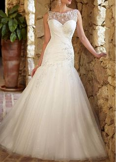 MODERN ORGANZA SATIN MERMAID ILLUSION BATEAU NECKLINE BEADED APPLIQUES WEDDING GOWN LACE DRESS