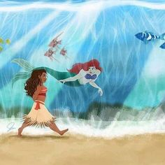 Parting the ocean. Moana and Ariel 〖 Disney Moana Waialiki The Little Mermaid Ariel 〗 Moana Disney, Disney Pixar, Disney Nerd, Disney Fan Art, Disney And Dreamworks, Disney Movies, Disney Ships, Disney Characters, Disney Princess Drawings