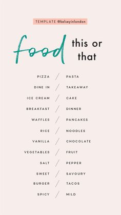 Story Templates – Food – Kelsey Heinrichs Story Templa… - Famous Last Words Snapchat Question Game, Snapchat Questions, Instagram Story Questions, Instagram Story Ideas, Instagram Games, Would You Rather Questions, Fun Questions To Ask, This Or That Questions, Poll Questions