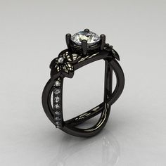 Designer Classic 14K Black Gold 10 CT White Sapphire by artmasters, $1799.00 - well i want this really fuckin bad....
