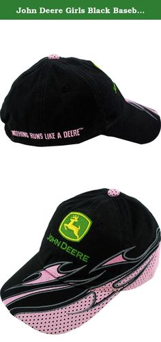 """John Deere Girls Black Baseball Cap Hat FGC270K (L/XL(10/14)). Show your style and look great on the farm or anytime with this adorable John Deere """"flames"""" baseball hat cap that is constructed to the same quality standards employed by John Deere since 1837. This John Deere ball cap features embroidered John Deere graphics of flames going up the side and an adjustable Velcro back for the perfect fit. The perfect accessory for any John Deere fan!."""