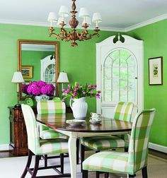 apple green--minus those God awful 1973 dining chairs.Darren and I will have a pretty house one day :) Green Dining Room, Elegant Dining Room, Dining Room Design, Dining Rooms, Dining Chairs, Green Family Rooms, Modern Cottage Style, Dining Room Inspiration, Cozy Room