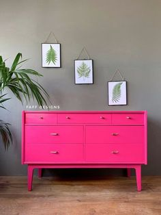 Pink Chest Of Drawers, Pink Chests, Chest Of Drawers Makeover, Tallboy Chest Of Drawers, Pink Dresser, Set Of Drawers, Chest Of Drawers Upcycle, Hot Pink Furniture, Funky Furniture