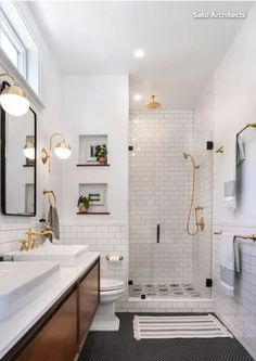low-key luxe bathroom - The master bathroom addition in this Spanish-style home features a black-and-white color pale - Bad Inspiration, Bathroom Inspiration, Bathroom Styling, Bathroom Interior Design, Bathroom Renovations, Home Remodeling, Bathroom Trends, Remodel Bathroom, Bathroom Niche