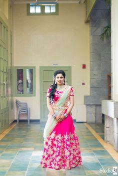 55 Bridal Lehenga designs that will inspire you - Wedandbeyond Lehenga Saree Design, Half Saree Lehenga, Lehnga Dress, Lehenga Designs, Sari, Lehenga Blouse, Pink Bridal Lehenga, Indian Bridal Lehenga, Indian Gowns Dresses