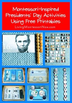 Free Presidents' Day printables and ideas for Montessori-inspired activities using free printables for preschoolers through first graders; perfect for classroom or homeschool - Living Montessori Now Montessori Education, Montessori Classroom, Montessori Activities, Kids Education, Preschool Activities, Educational Activities, Classroom Ideas, Montessori Bedroom, Homeschooling Resources