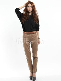 Fitted Brown Cotton Womens Straight Pants - Milanoo.com