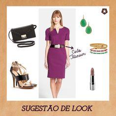 Sugestão de look com cinto Titanium e combinação de cores: roxo + verde!