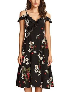 2019 Elegant Women Floral Mini Dress with Side Pockets Short Sleeve Sundress Casual Dress Nmch