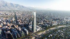 Sky Costanera - o maior mirante da América Latina fica no Chilele. O mirante tem vista de 360º de santiago e está localizado no topo do prédio do Shopping Costanera Center.