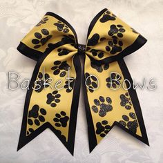 Yellow/Gold Glitter PAW Cheer Bow or Softball Bow by BasketOBows