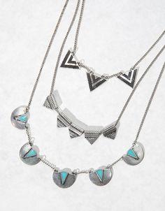 Bershka España - Set 3 collares triángulos piedra azul