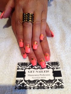 Coral nails with gold foil nail art