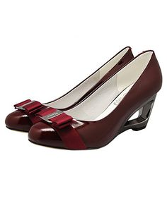 Ferragamo Classic Maroon Bowknot Round Toe Hollowed Out Heel Pum