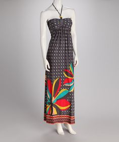 Take a look at this Navy Bloom Halter Maxi Dress by Orange Zone Inc. on #zulily today!