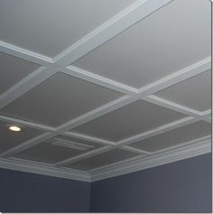 Drop ceiling tiles supported by molding. Looks like coffered ceiling! Drop ceiling tiles supported b House Design, House, Basement Ceiling, Basement Decor, Coffered Ceiling, Basement Remodeling, Home Remodeling, New Homes, Diy Ceiling