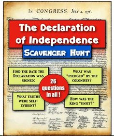 """Declaration of Independence: A Scavenger Hunt! Students dive into the document!This Declaration of Independence lesson is included in the two larger bundles to save you big!Causes of the American Revolution Unit!Declaration of Independence Bundle!  2 Great Activities, 1 Great Price!Purchase either and save significantly!-----------Students will complete a """"Declaration of Independence"""" Scavenger Hunt in this lesson!"""