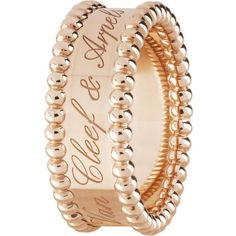 VAN CLEEF & ARPELS Perlée Signature rose-gold ring (€2.230) ❤ liked on Polyvore featuring jewelry, rings, rose gold jewelry, rose gold jewellery, beading jewelry, beaded jewelry and pink gold rings