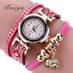 Duoya Luxury Brand Fashion Women Gold Elephant Quartz Crystal Dress Bracelet Watch Clock Female Women Girl Wristwatches Gift